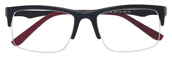 Armação Óculos Receituário AT 4136 Preto/Vermelho