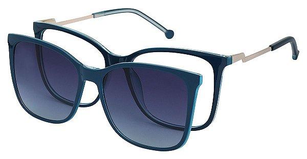 Armação Óculos Receituário e Sol 8704 Clipon com 1 Lente Polarizado Azul