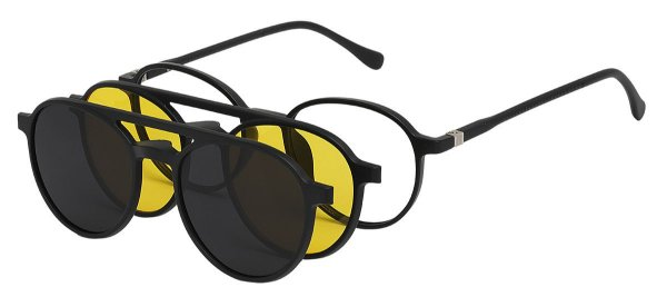Armação Óculos Receituário e Sol Clipon Com 2 Lentes AT 2309 Preto