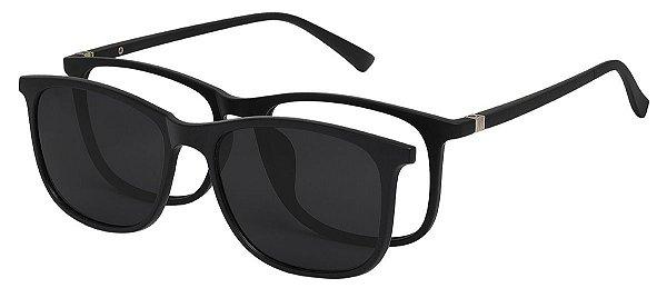 Armação Óculos Receituário e Sol Clipon Com 1 Lente AT 2263 Preto