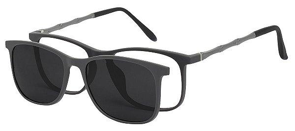 Armação Óculos Receituário e Sol Clipon Com 1 Lente AT 6006 Cinza