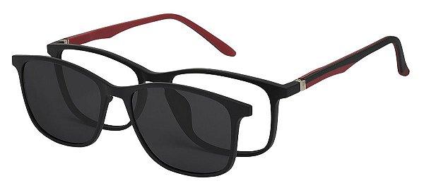 Armação Óculos Receituário e Sol 6009 Clipon com 1 Lente Polarizado Preto/Vermelho