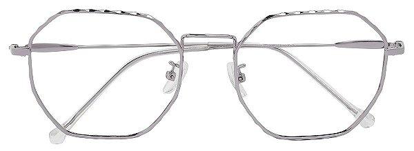 Armação Óculos Receituário AT 9285 Prata Hexagonal
