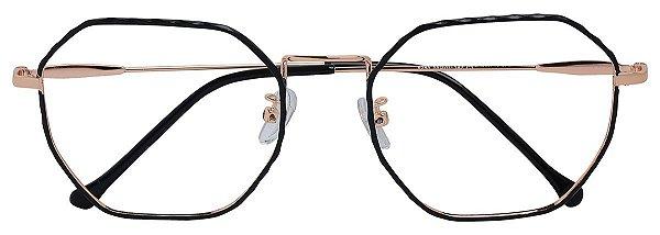 Armação Óculos Receituário AT 9285 Preto/Dourado Hexagonal