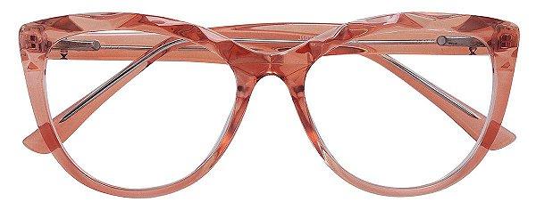 Armação Óculos Receituário AT 102 Mosaico Redondo Salmão Transparente