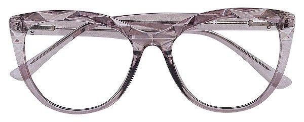 Armação Óculos Receituário AT 102 Mosaico Redondo Cinza Transparente