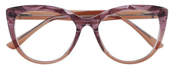 Armação Óculos Receituário AT 102 Mosaico Redondo Vinho Degrade/Marrom Transparente