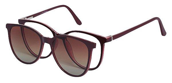 Armação Óculos Receituário e Sol AT 5009 Clipon com 1 Lente Polarizado Vinho