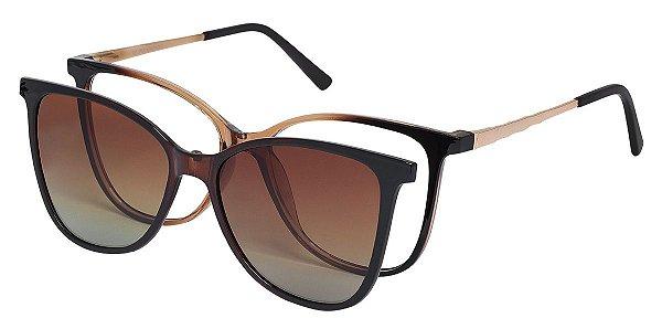 Armação Óculos Receituário e Sol Clipon Com 1 Lente AT 5004 Marrom Degradê