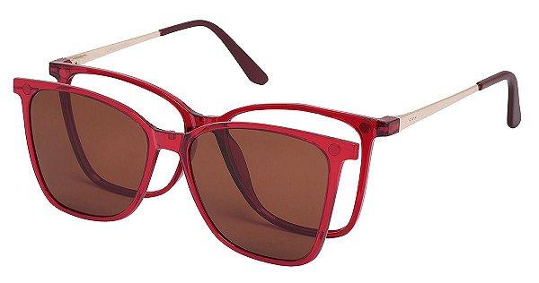 Armação Óculos Receituário e Sol AT 5001 Clipon com 1 Lente Polarizado Vinho Transparente