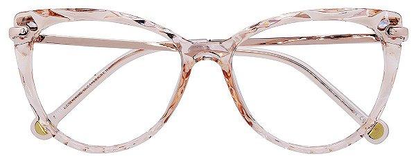Armação Óculos Receituário AT 5596 Mosaico Redondo Champagne Transparente
