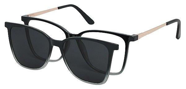Armação Óculos Receituário e Sol Clipon Com 1 Lente AT 5001 Preto Degradê