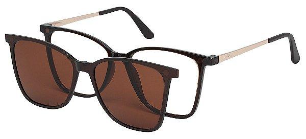 Armação Óculos Receituário e Sol Clipon Com 1 Lente AT 5001 Marrom