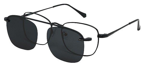 Armação Óculos Receituário e Sol Clipon Com 1 Lente AT 3008 Preto