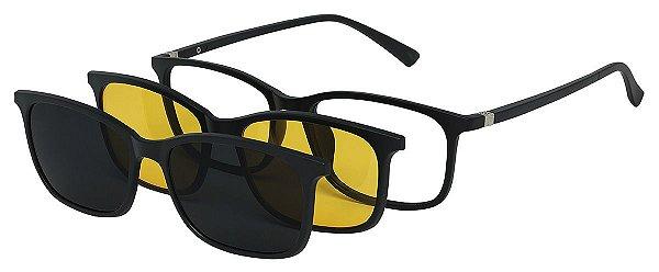 Armação Óculos Receituário e Sol Clipon Com 2 Lentes AT 2264 Preto