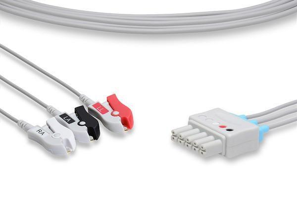 Conjunto de Rabicho ECG 3 vias Compatível com DRAGER