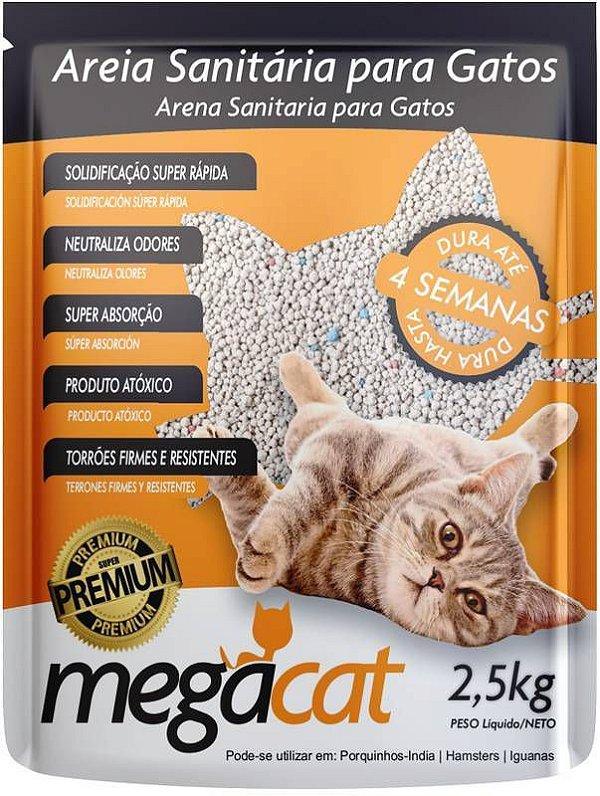 Areia Sanitária Para Gato MegaCat 2,5 Kg 100% Natural
