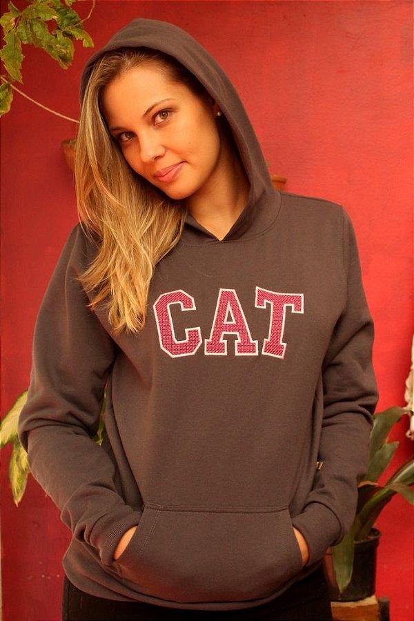 Moletom Cinza Feminino  CAT Rosa