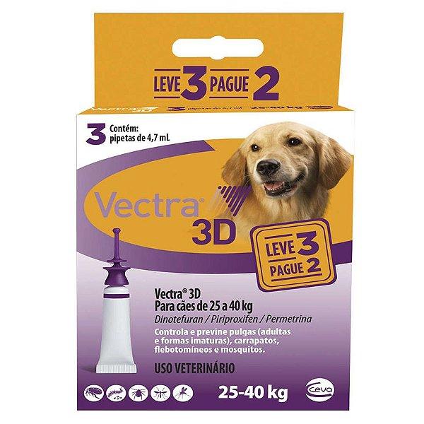 Combo Vectra 3D Cães 25 a 40 Kg Ceva
