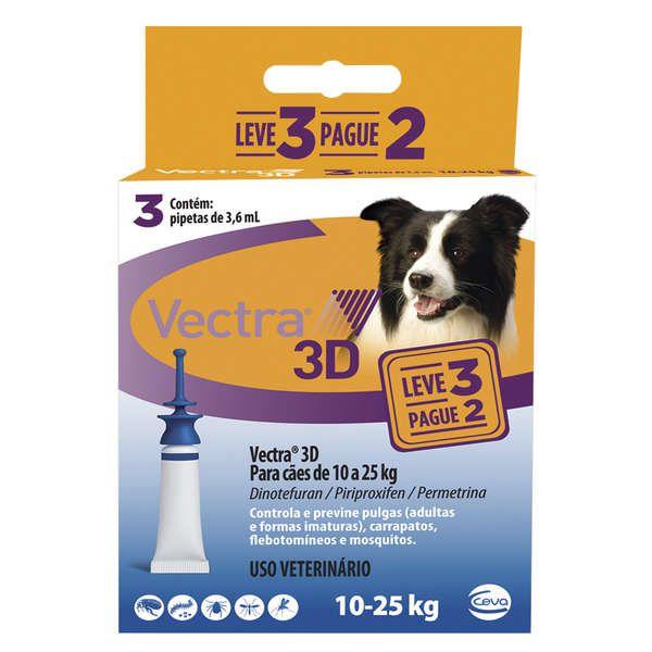 Combo Vectra 3D Cães 10 a 25 Kg Ceva