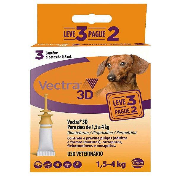 Combo Vectra 3D Cães 1,5 a 4 Kg Ceva