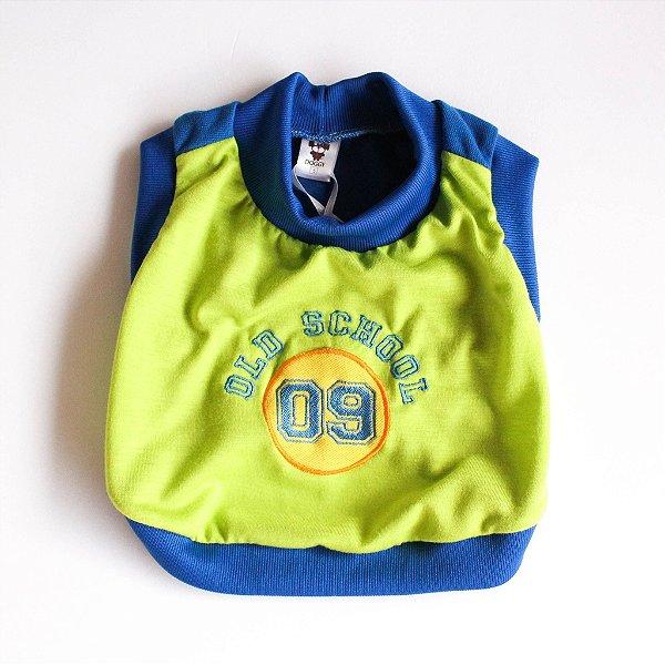 Camiseta Malha Verde/Azul