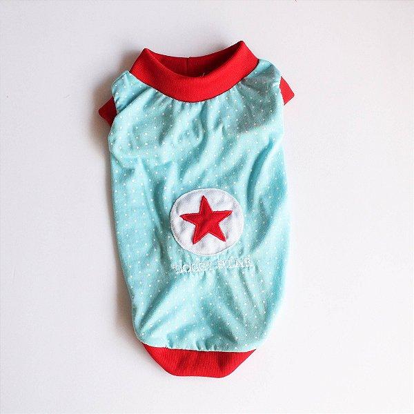 Camiseta Malha Azul/Vermelho Estrela