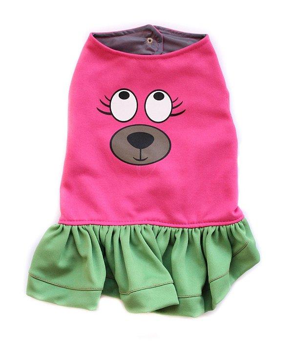 Vestido Carinha Rosa/Verde