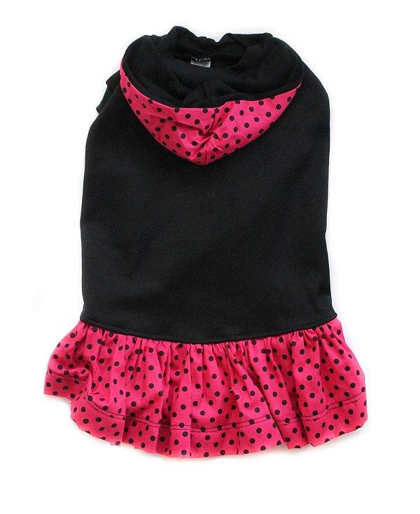 Vestido em Moletom Preto/Rosa