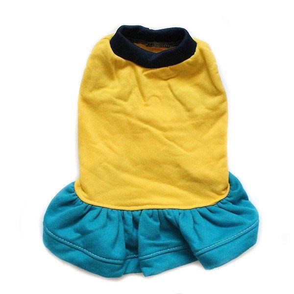 Vestido Moletom Azul/Amarelo