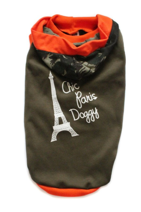 Moletom Marrom/Laranja com Capuz Chic Dog Paris