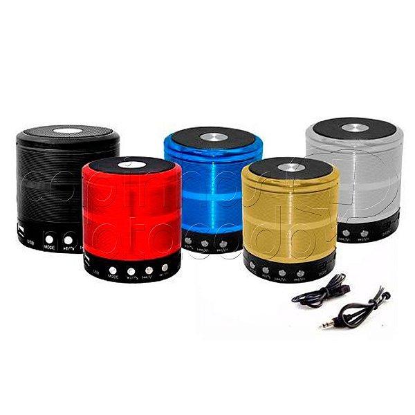 Mini Caixa de Som Speaker Portátil - Bluetooth/Fm/USB/SD - Cores Sortidas