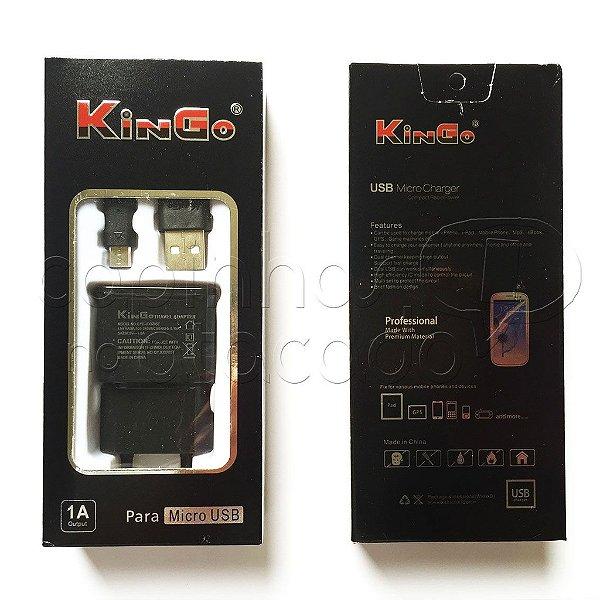 Carregador Micro USB Linha Premium - KinGo - Cores Sortidas