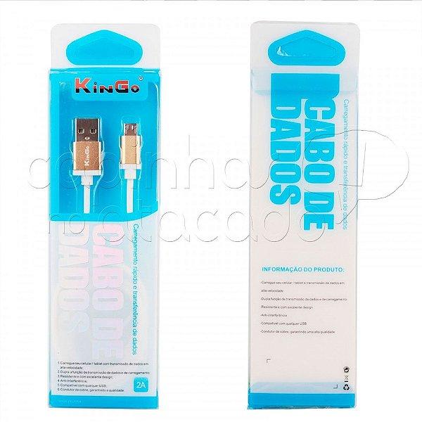 Cabo de Dados Metalizado USB/V8 Cores Sortidas Linha Premium - Kingo