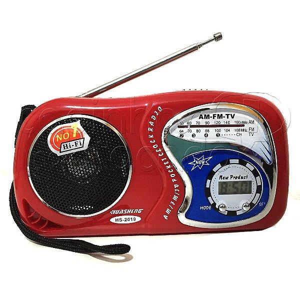 Rádio Relógio Portátil AM/FM - Pocket - Cores Sortidas