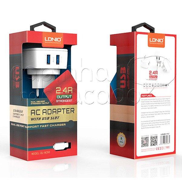 Kit Carregador 2.4A para Micro USB / V8 - Linha Premium - LDNIO