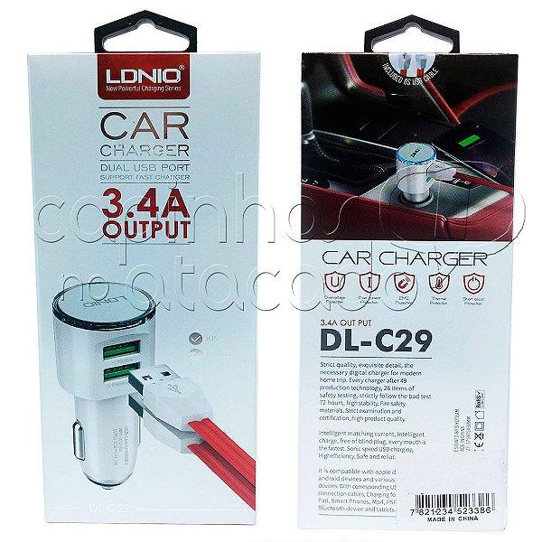Kit Carregador Veicular Dual USB 3.4A Micro USB / V8 - Linha Premium - LDNIO