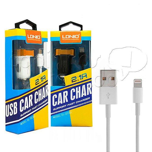 Kit Carregador Veicular 2.1A para iPhone 5/6 - Linha Premium - LDNIO - Cores Sortidas