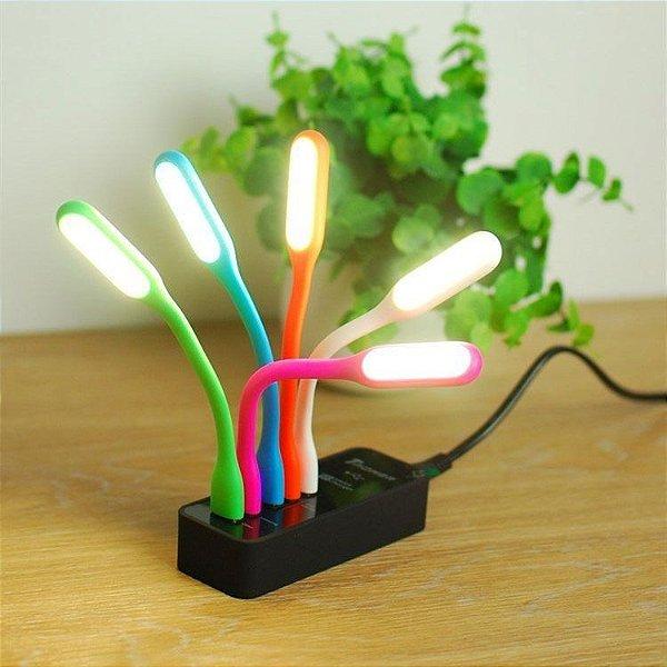 Mini Lâmpada de LED com Entrada USB - Cores Sortidas