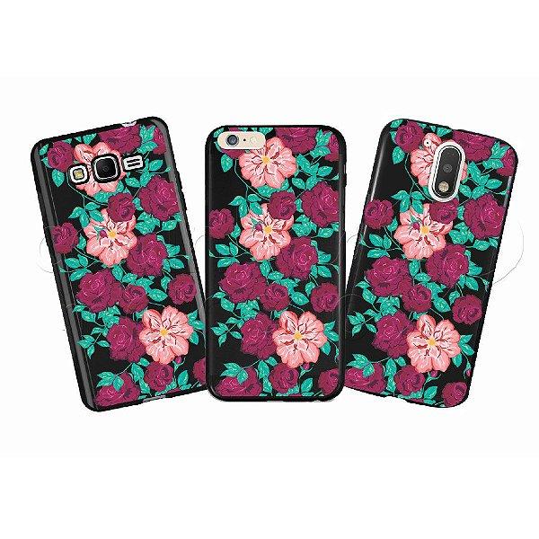 Capinha Personalizada Premium BLACK - Floral