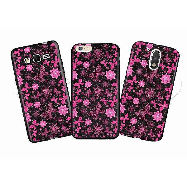 Capinha Personalizada Premium BLACK - Flores e Borboletas Rosa