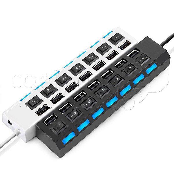 Mini HUB USB 2.0 com 7 portas - Cores Sortidas