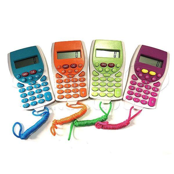 Mini Calculadora Eletrônica com Cordão KK-2201 - Cores Sortidas