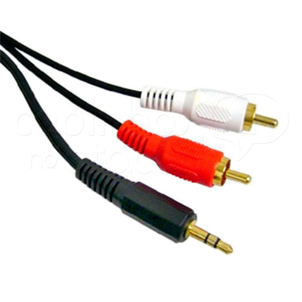 Cabo P2 Estéreo x RCA Áudio Branco e Vermelho