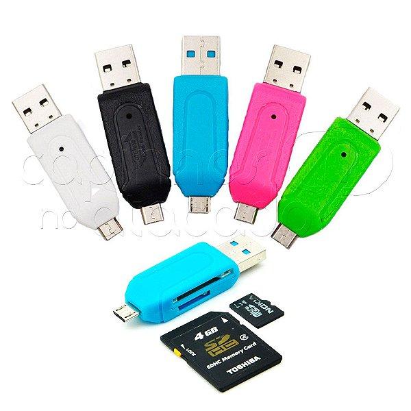 Leitor de Cartão de Memória e Adaptador V8 para Micro USB OTG - Cores Sortidas