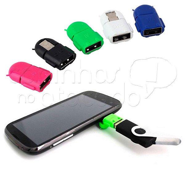 Mini Adaptador V8 para Micro USB OTG - Modelo Android - Cores Sortidas