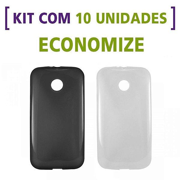 Kit com 10 Capas de Silicone TPU Transparente ou Fumê para Motorola Moto E 1ª Geração
