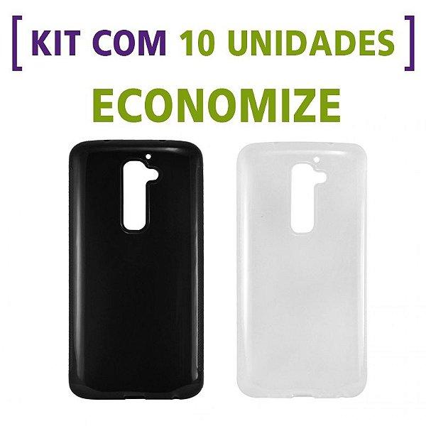 Kit com 10 Capas de Silicone TPU Transparente ou Fumê para LG G2