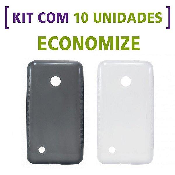 Kit com 10 Capas de Silicone TPU Transparente ou Fumê para Nokia Lumia 530