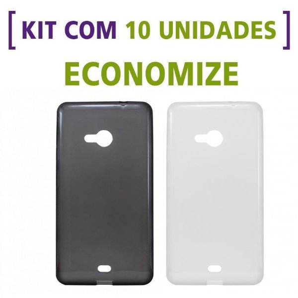 Kit com 10 Capas de Silicone TPU Transparente ou Fumê para Nokia Lumia 535